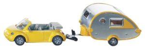 Siku, VW Beetle Cabrio mit Tab-Wohnwagen