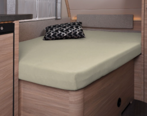 Fixleintuch 137 x 195 (110 / 90) cm für französisches Bett im Wohnwagen Sand