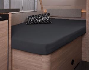 Fixleintuch 137 x 195 (110 / 90) cm für französisches Bett im Wohnwagen Titanium