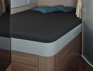 Fixleintuch 142 x 195 (158 / 42) cm für französisches Bett im Reisemobil Titanium