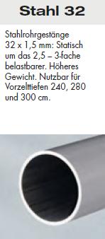 Brand Zelte-Aufpreis Stahl 32 mm Gestänge / Cordoba